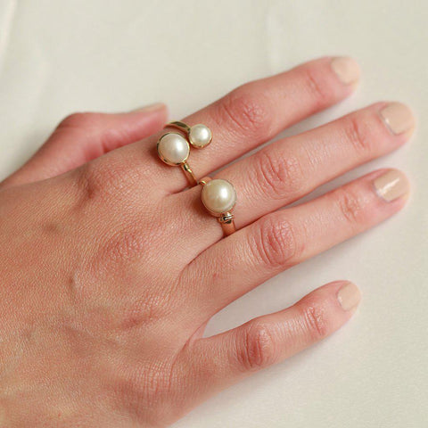 BLIX 2 MICRON GOLD DOUBLE PEARL RING