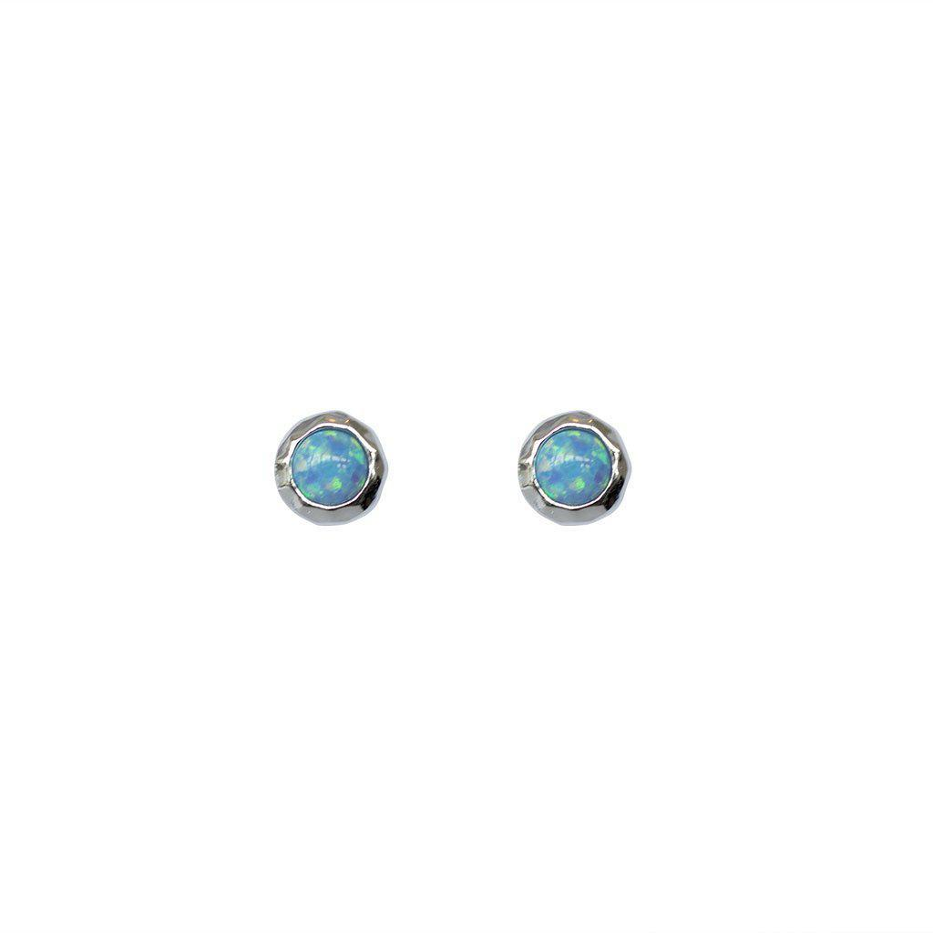 BLUE OPALITE STERLING SILVER STUDS EARRINGS