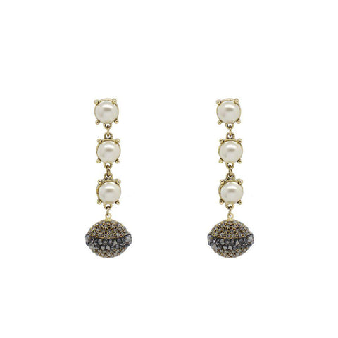 BODHAN DROP PEARL AND CRYSTAL BALL EARRINGS