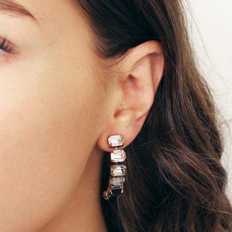 BORNA BLACK CRYSTAL HALF MOON EARRINGS