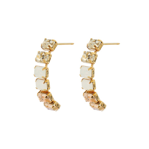 BORNA PINK CRYSTAL HALF MOON EARRINGS