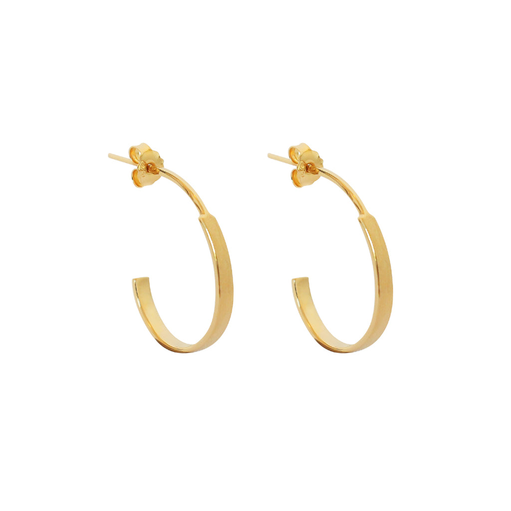 BRANWEN STERLING SILVER GOLD PLATED HOOPS