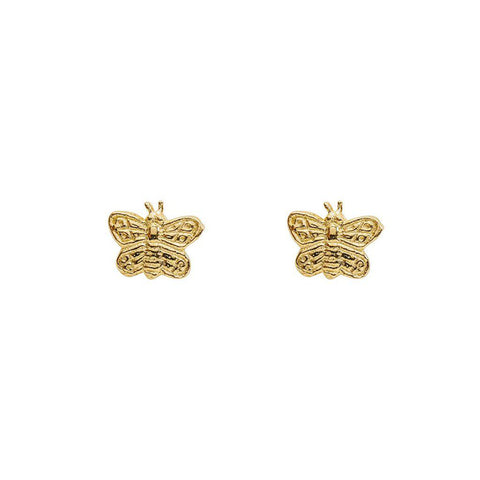 BUTTERFLY FLAT GOLD STUDS