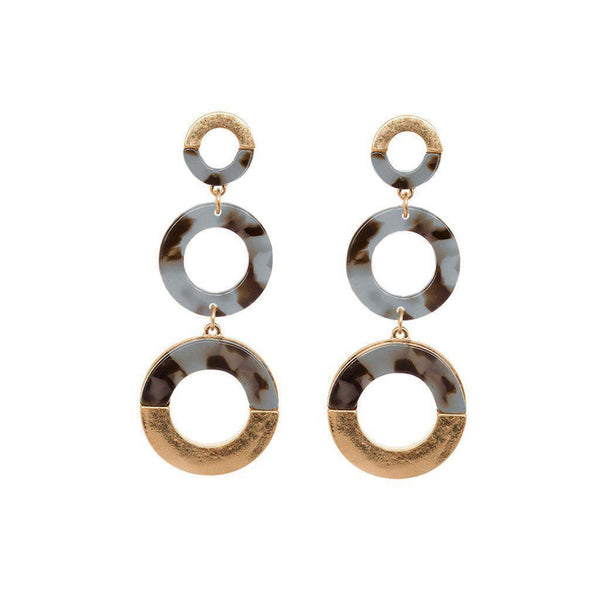 CADDIE GREY BLUE TORTOISE SHELL ROUND EARRINGS