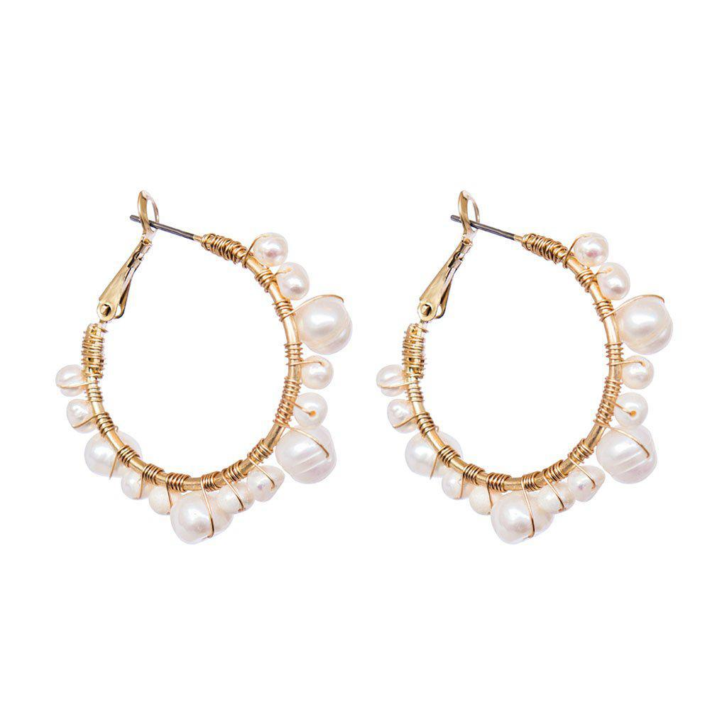 CADI SHELL BASED PEARLS HOOP EARRINGS