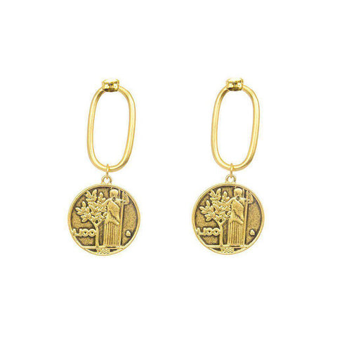 CAELI GOLD COIN DROP EARRINGS