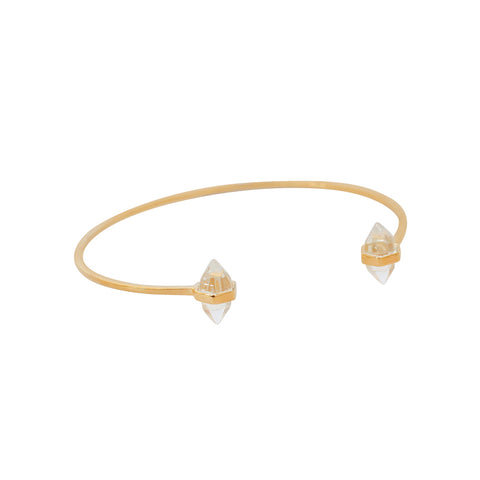CALICO 2 CRYSTALS STERLING SILVER GOLD PLATED BRACELET