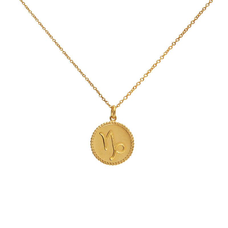 capricorn star sign gold necklace
