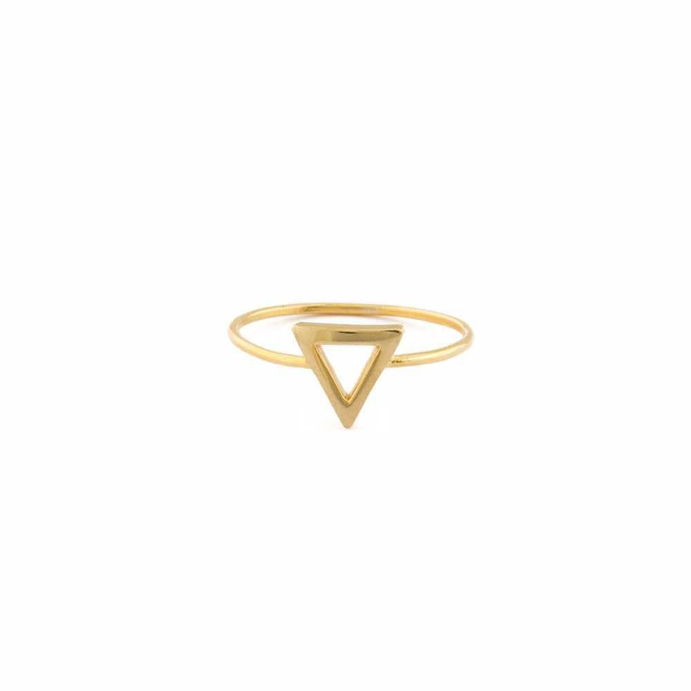CARA TRIANGLE GOLD RING-Rings-MEZI