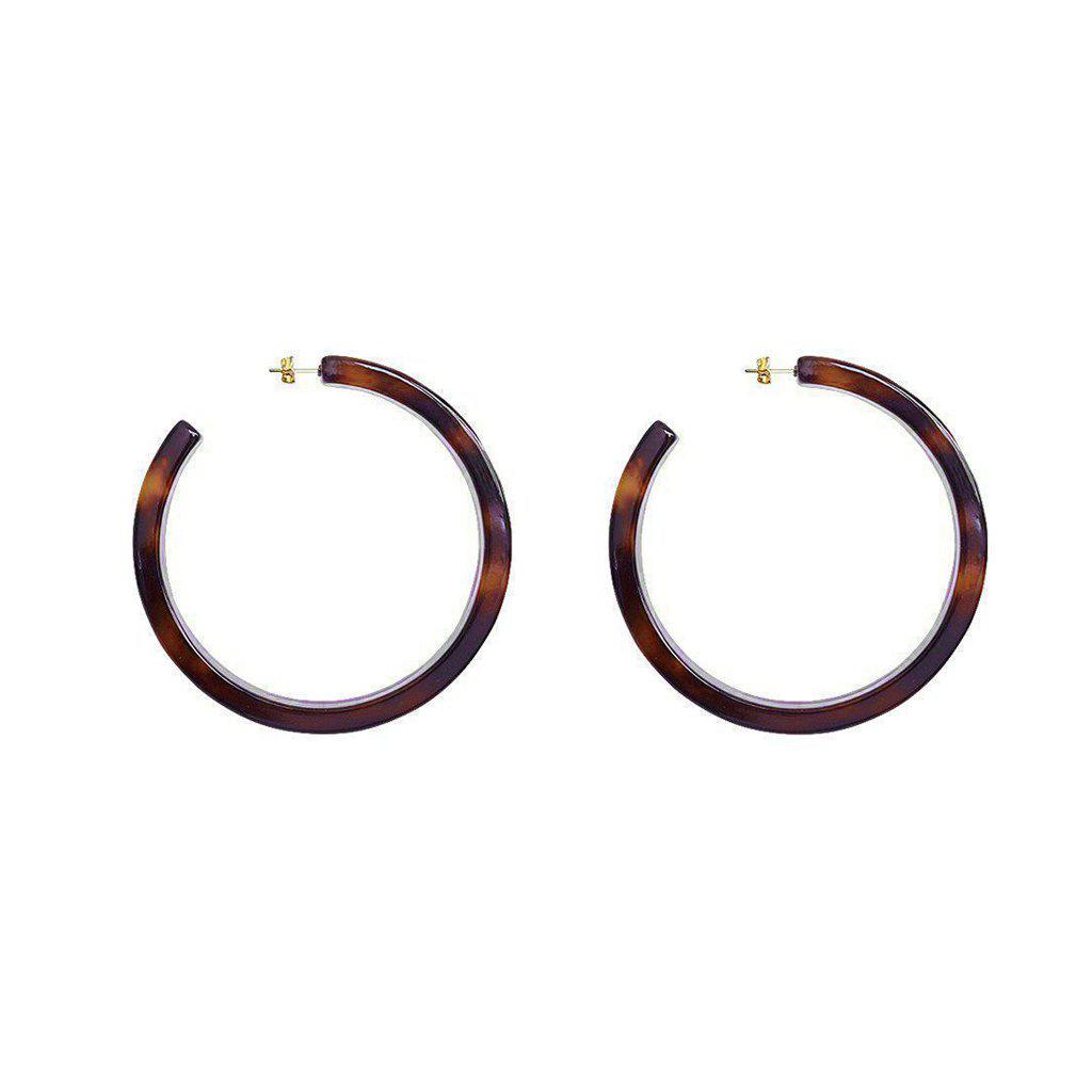 CARMINA LARGE TORTOISE SHELL HOOPS EARRINGS