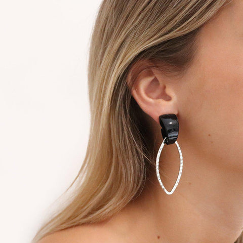 CARMINA TORTOISE BLACK SHELL EARRINGS