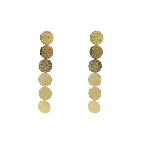 CELESTE GOLD DISC DROP EARRINGS