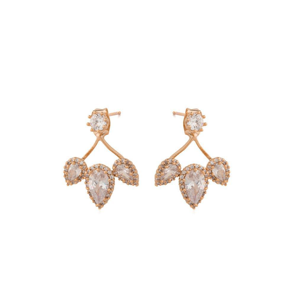 CELINE ROSE GOLD CRYSTAL JACKET EARRINGS-Earrings-MEZI