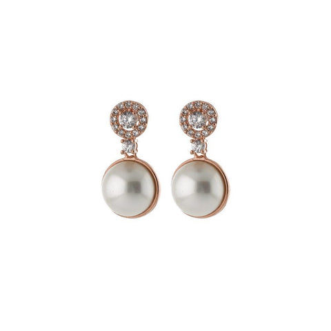 CHARLOTTE PEARL/ROSE GOLD EARRINGS-Earrings-MEZI