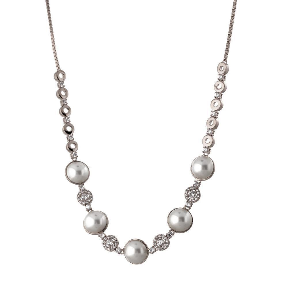 CHARLOTTE PEARL/SILVER CHOKER/NECKLACE
