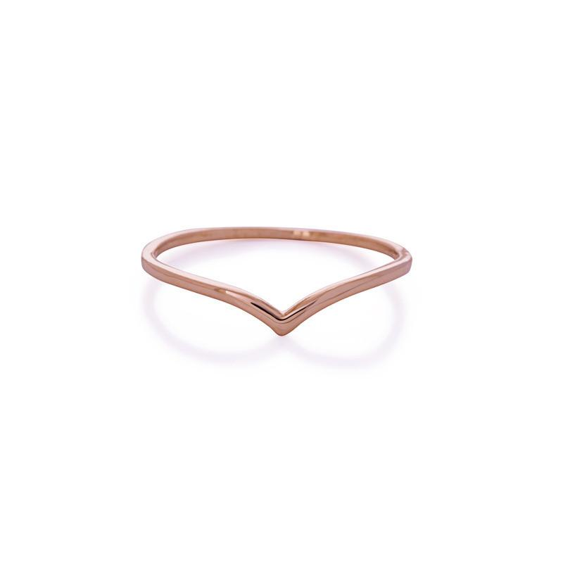 CHEVRON ROSE GOLD RING-Rings-MEZI
