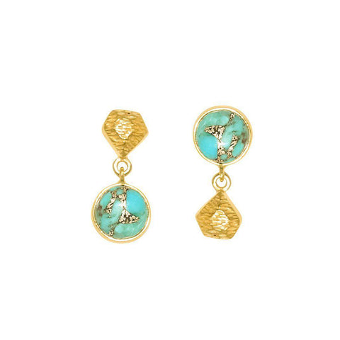 CHIKA TURQUOISE GOLD SEMI PRECIOUS STONE EARRINGS