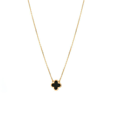 CLOVER BLACK & ROSE GOLD NECKLACE-Necklaces-MEZI