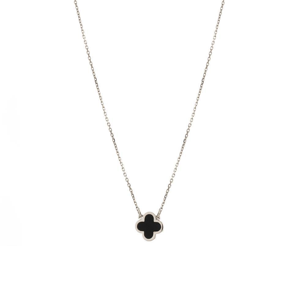CLOVER BLACK & SILVER NECKLACE