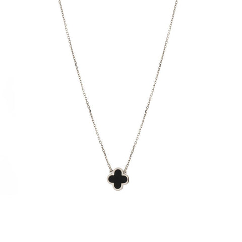 CLOVER BLACK & SILVER NECKLACE-Necklaces-MEZI