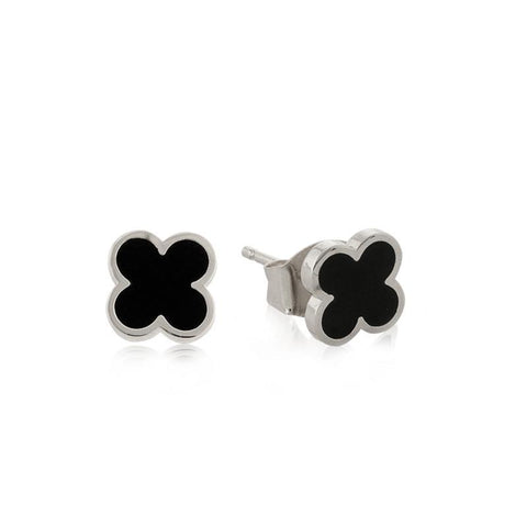 CLOVER BLACK & SILVER STUD EARRINGS-Earrings-MEZI