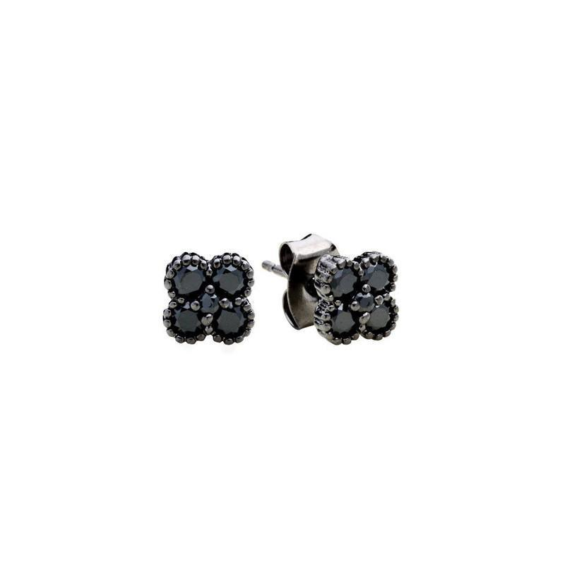 CLOVER BLACK STUD EARRINGS-Earrings-MEZI