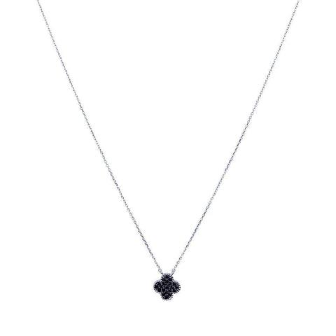 CLOVER BLACK SWAROVSKI PENDANT SILVER NECKLACE