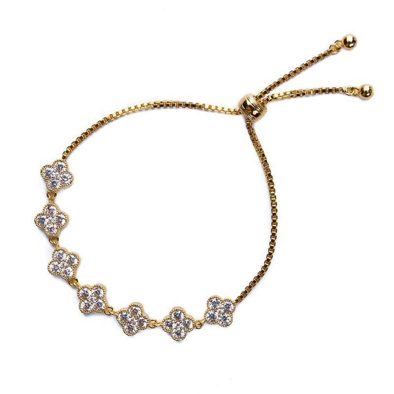 CLOVER GOLD AND CRYSTAL BRACELET-Bracelets-MEZI