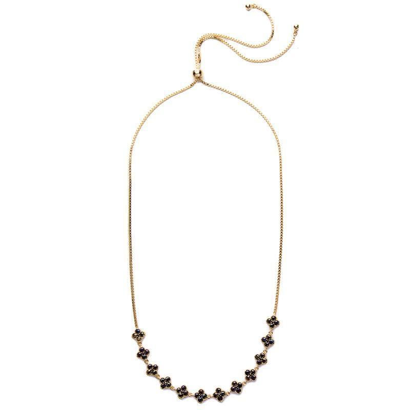 CLOVER GOLD BLACK CHOKER-Necklaces-MEZI