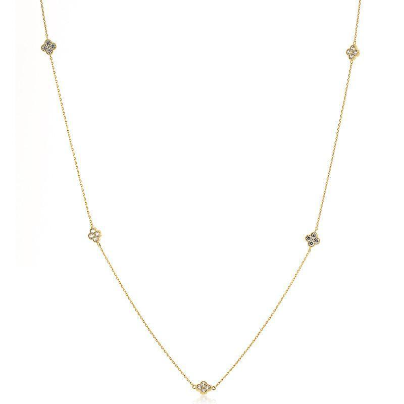 CLOVER GOLD CRYSTAL NECKLACE