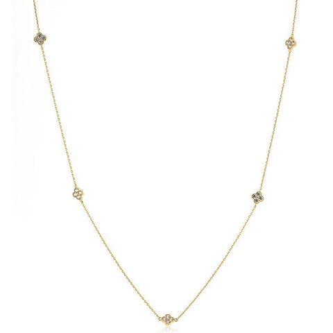 CLOVER GOLD CRYSTAL NECKLACE-Necklaces-MEZI