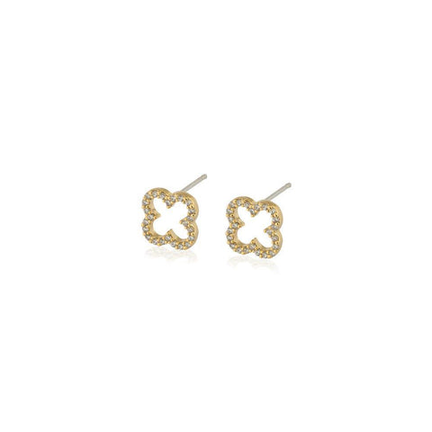 CLOVER GOLD HOLLOW CRYSTAL STUDS-Earrings-MEZI