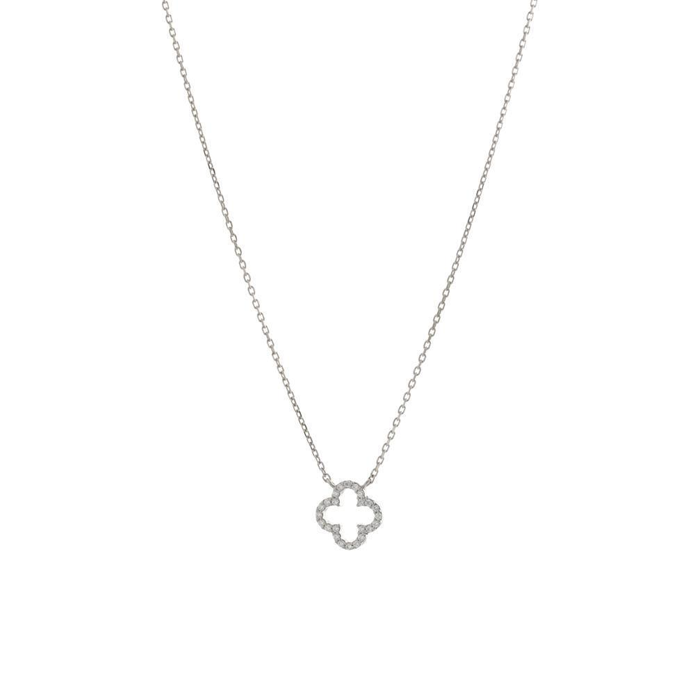CLOVER HOLLOW SILVER CRYSTAL NECKLACE-Necklaces-MEZI