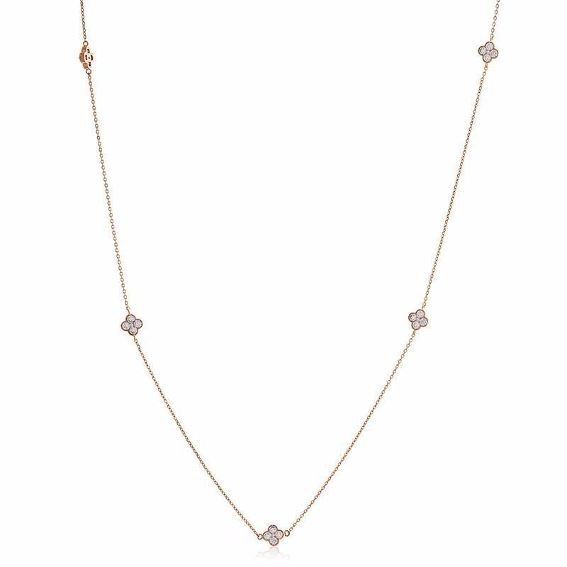 CLOVER ROSE GOLD CRYSTAL NECKLACE