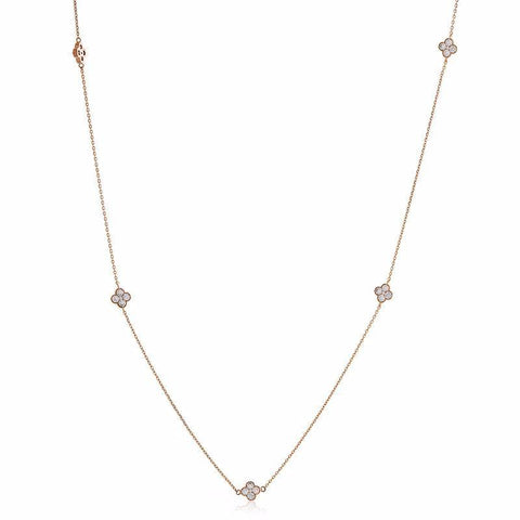 CLOVER ROSE GOLD CRYSTAL NECKLACE-Necklaces-MEZI