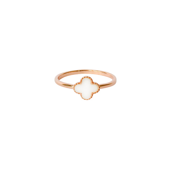 CLOVER MOTHER OF PEARL 1 MICRON ROSE GOLD RING