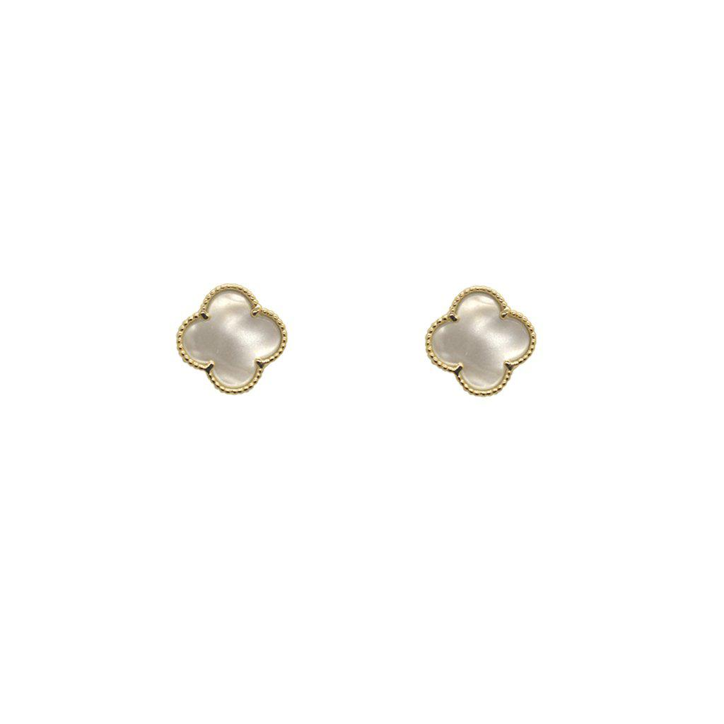 CLOVER MOTHER OF PEARL GOLD STUDS EARRINGS