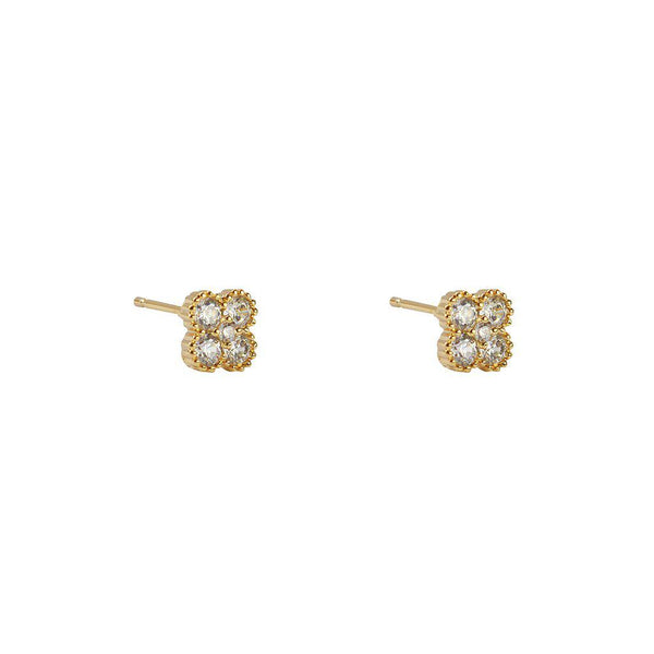 CLOVER GOLD CRYSTAL STUD EARRINGS