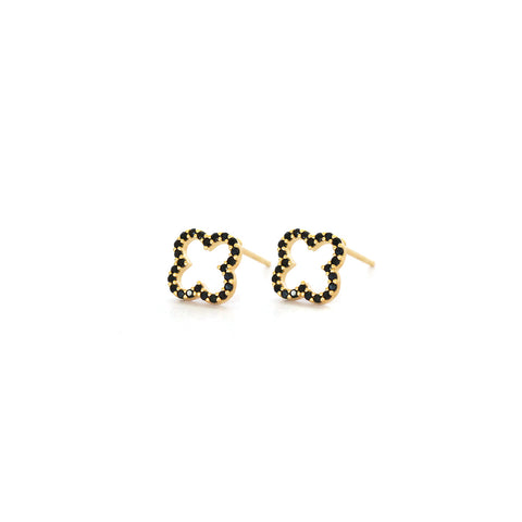 CLOVER GOLD BLACK HOLLOW CRYSTAL STUDS