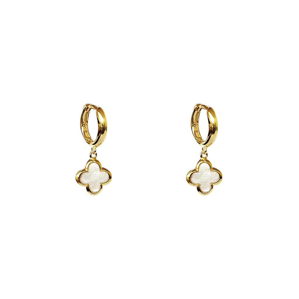 CLOVER 1 MICRON GOLD MOTHER OF PEARL EARRINGS