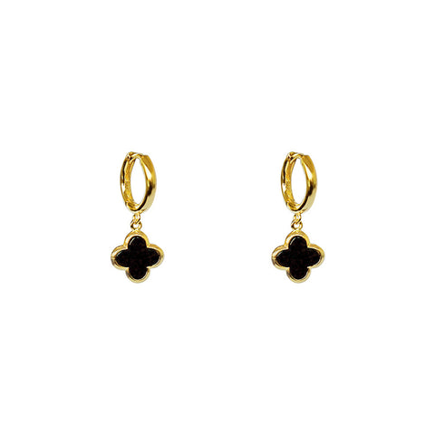 CLOVER 1 MICRON GOLD ONYX EARRINGS