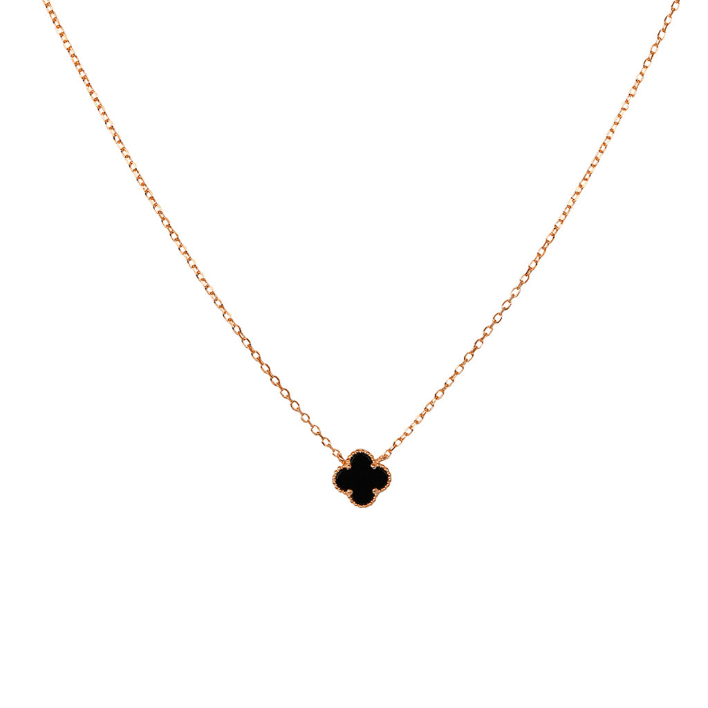 CLOVER 1 MICRON ROSE GOLD ONYX PENDANT II