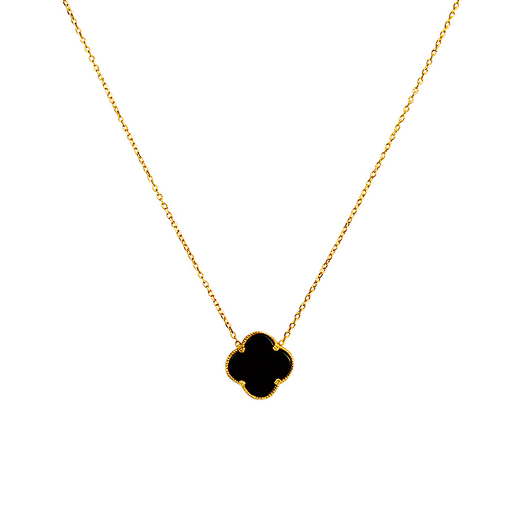 CLOVER GOLD PLATED ONYX PENDANT