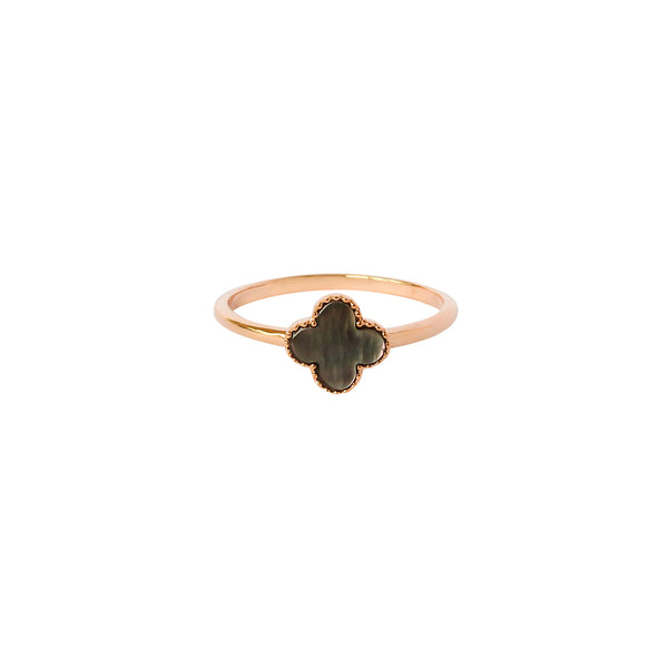 CLOVER BLACK MOTHER OF PEARL 1 MICRON ROSE GOLD RING