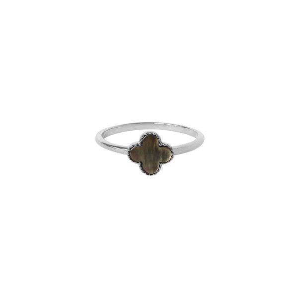 CLOVER BLACK MOTHER OF PEARL STERLING SILVER RING