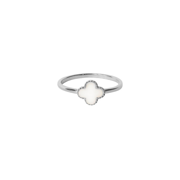 CLOVER MOTHER OF PEARL STERLING SILVER RING