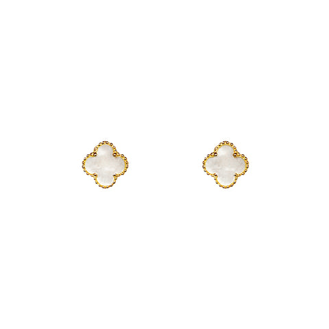 CLOVER 1 MICRON GOLD MOTHER OF PEARL STUDS