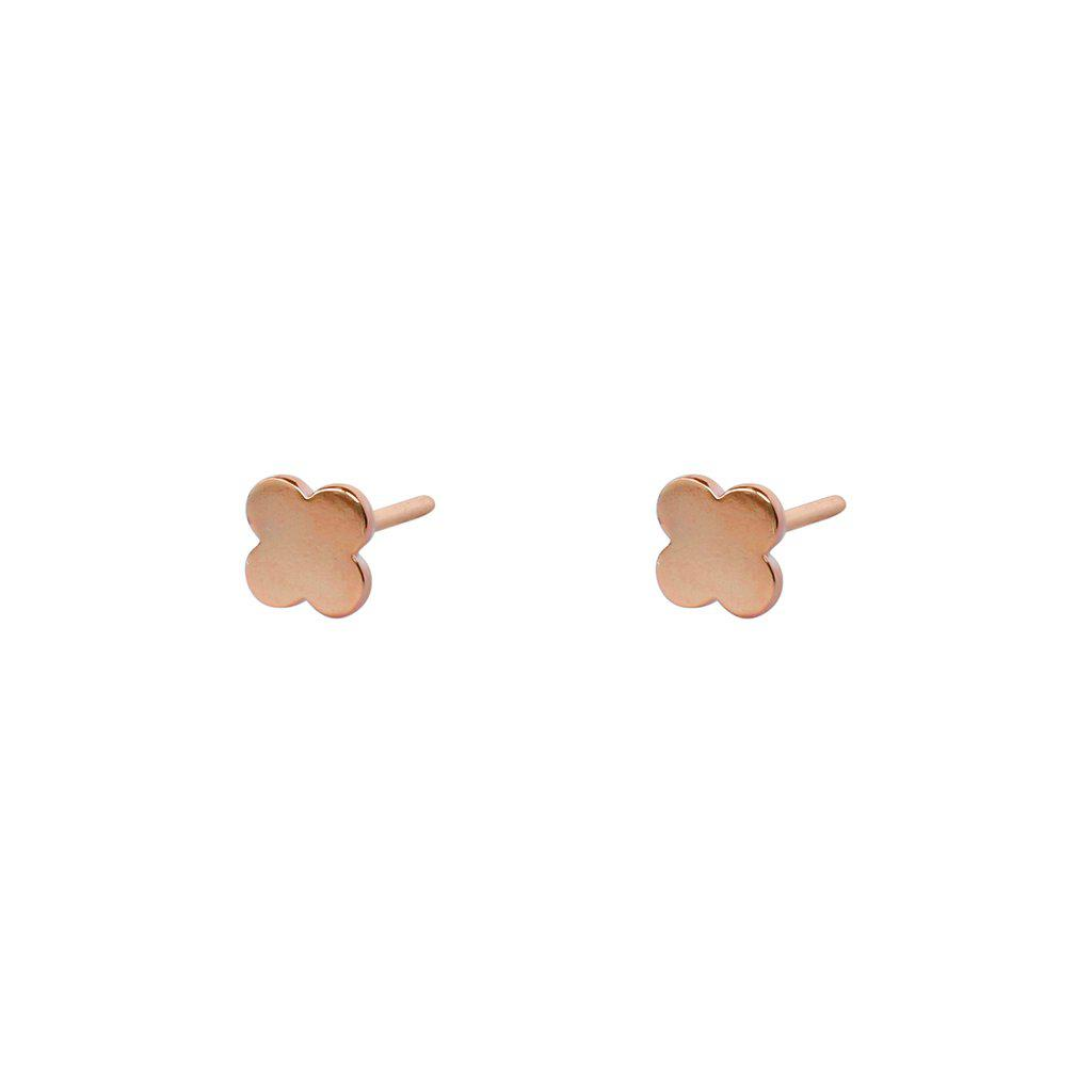CLOVER ROSE GOLD STUDS