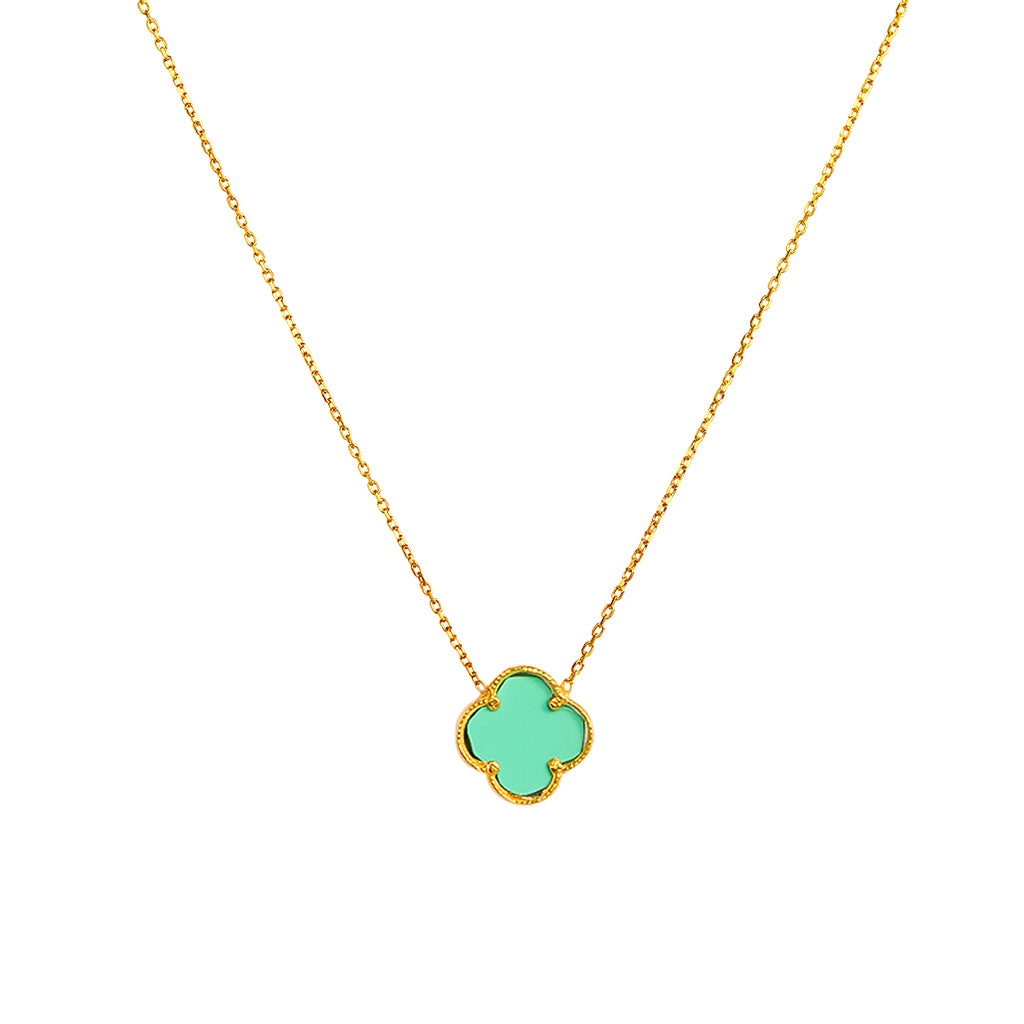 CLOVER GOLD PLATED TURQUOISE PENDANT