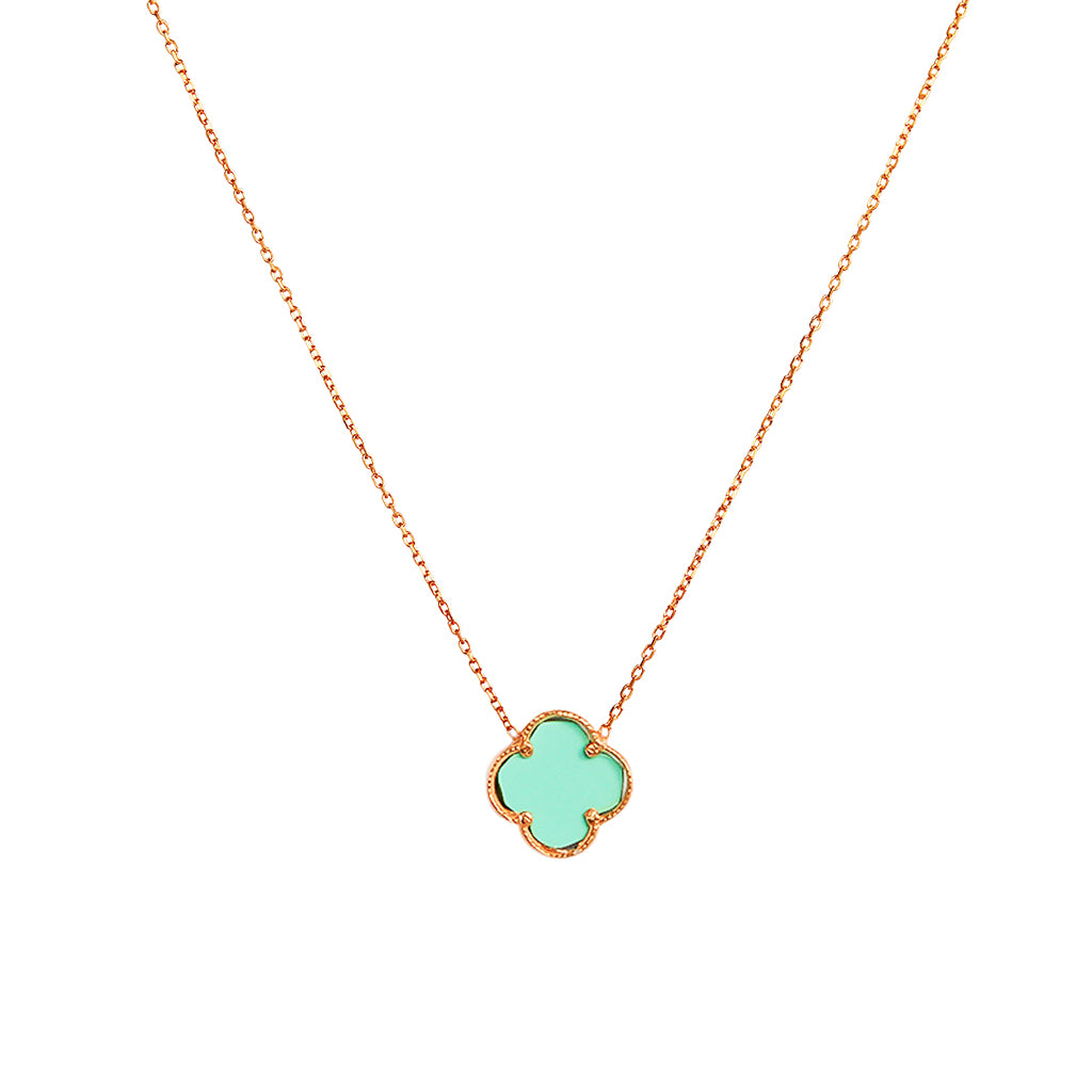 CLOVER ROSE GOLD TURQUOISE PENDANT